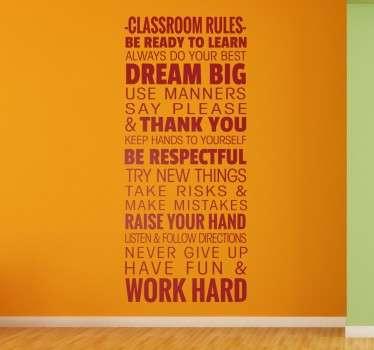 Třídní pravidla samolepka na stěnu