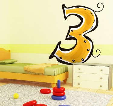 Sticker cijfer Drie