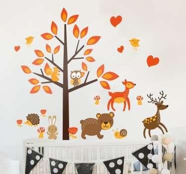 Vinil decorativo bosque fauna animais