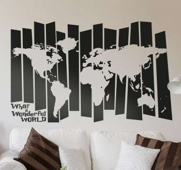 Creative wall decal of the world map with an abstract effect. Perfect to make any room stand out while showing off your love of travelling.
