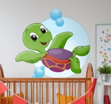 Karikatura želva dětská nálepka na stěnu