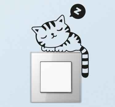Uykulu kedi ışık anahtarı etiketi