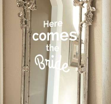 Vinilo decorativo boda here comes the bride