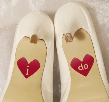 'I do' heart sticker designs that are ideal to place on the bottoms of your wedding shoes for a unique and memorable touch.