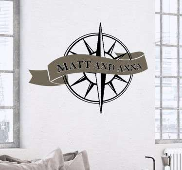 Customisable Compass Wedding Banner Sticker