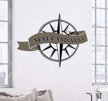 Hochzeitsaufkleber Kompass mit Namen