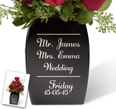 Customisable Wedding Flower Vase Sticker