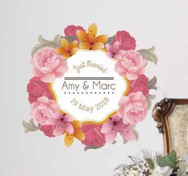 Vinil decorativo casamento floral personalizável
