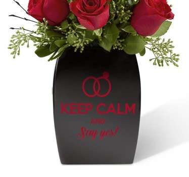 Keep calm og sig ja bryllup sticker