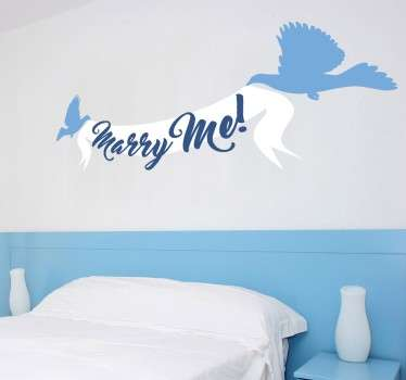 This decorative wall sticker is the perfect way to show your love for your other half! Featuring a design of two doves carrying a banner