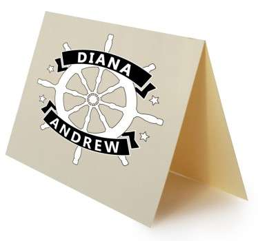 This customisable sticker featuring a ship's wheel design is ideal for weddings, engagement parties, rehearsal dinners, anniversary dinners and more.