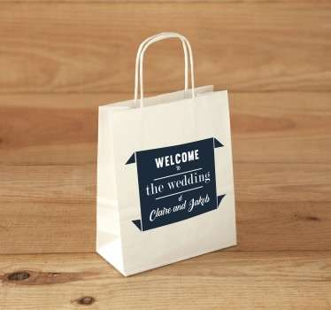 "The sticker consists of the text ""welcome to the wedding of..."" you can personalise the text to enter yours and your partners name."