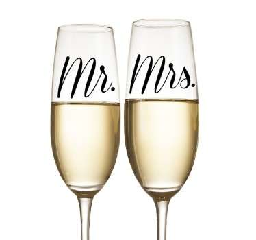 Mr Mrs bryllup glas stickers