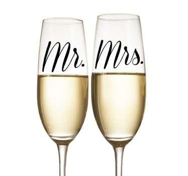 Hochzeitsaufkleber Mr. Mrs. Schriftzug