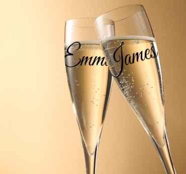 Vinil decorativo copos casamento nomes