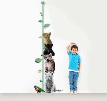 Vinil decorativo de medidores infantis onde aparece várias espécies de felinos. Controla o crescimento do teu filho de forma divertida e diferente.