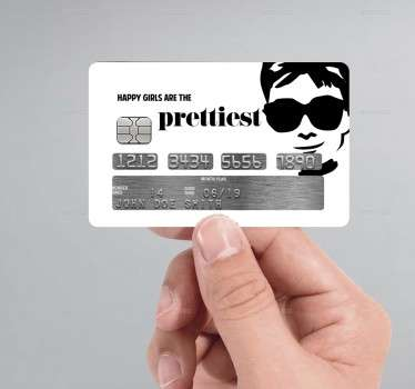 Personalize your credit card with a unique sticker with your favorite actress - Audrey Hepburn. Everyone will be amazed!