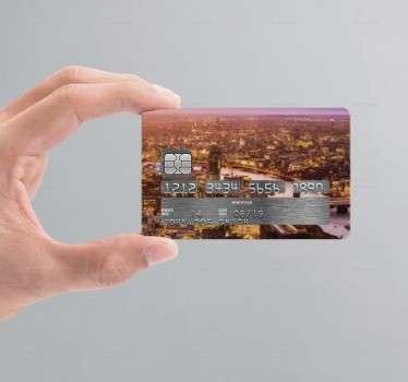 Kreditkartenaufkleber Sonnenuntergang Stadt