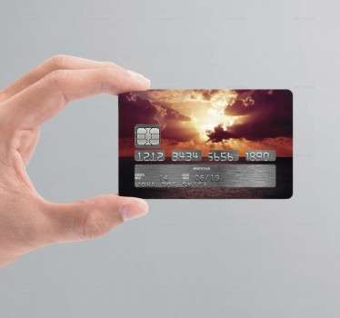 Autocolante cartão de crédito pôr-do-sol nuvens