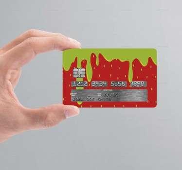 Truskawskowa naklejka na kartę kredytową