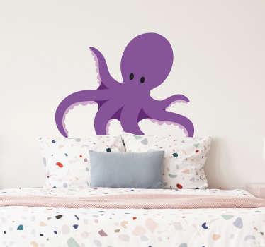 Sticker kinderkamer blauwe octopus sterren