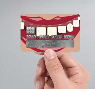 Autocolante cartão de crédito mulher dentes boca