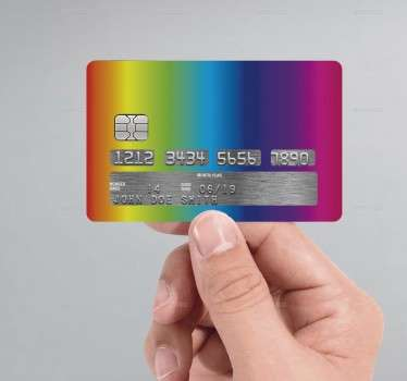 This credit card sticker, consists of all the colours of the rainbow.