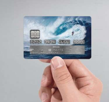 If you're looking for an original and unique way to customise your credit/debit cards, look no further than this decorative surf credit card sticker!