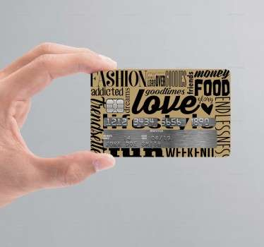 Autocolante cartão de crédito texto interesses