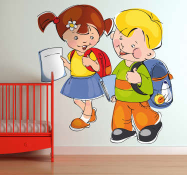 Una pareja de niños pequeños dirigiéndose divertidos al colegio. Adhesivo de un dibujo alegre para animar a tus hijos a estudiar.