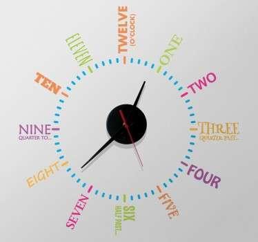 Vinil decorativo relógio parede em inglês