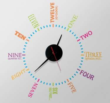 Sticker mural horloge en anglais