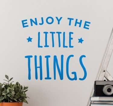 "This is the perfect inspirational and motivational wall sticker for any room in the home! Featuring the text ""enjoy the little things"" surrounded by two little stars, this text sticker is applicable to any hard smooth surface."