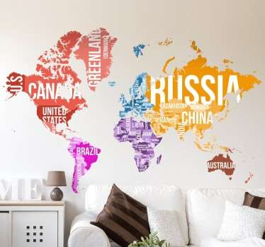 World map wall decal showing the continents of the world in different colours and the names of each country written in large text across the map to give an educational and visually pleasing atmosphere to any room in your home or business.