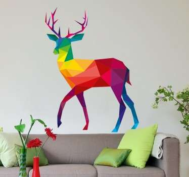 This striking geometric stag wall sticker is a unique and multi-coloured design. Perfect for decorating living rooms and bedrooms!
