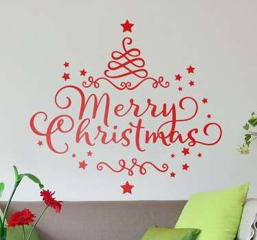 "The Christmas wall sticker, consists of the text ""Merry Christmas"" written in an elegant font."