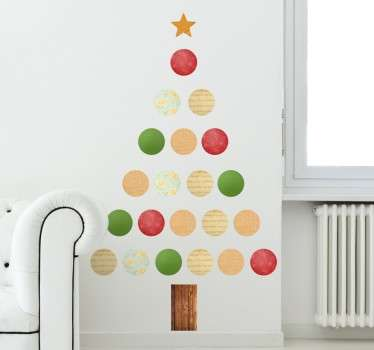 Decorate your home this Christmas using this Christmas tree sticker. This amazing sticker uses all the Christmas colours, red, green and white!