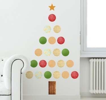 Naklejka świąteczna kolorowa choinka