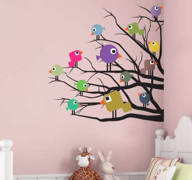 Kids Stickers - Curious birds rest on the branches of a tree. Ideal for decorating bedrooms and play areas for kids.