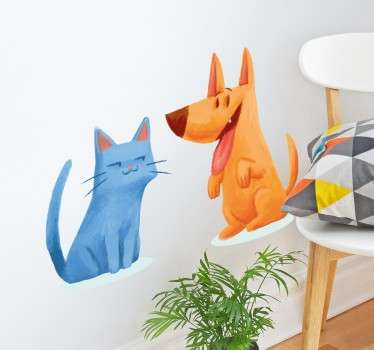 Break stereotypes and show that cat and dog can actually be best friends with this fun and original decorative wall sticker!