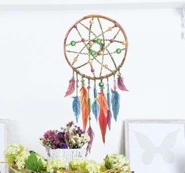 Renkli dreamcatcher duvar sticker dekorasyon
