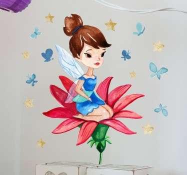 Vinilo infantil hada sobre flor roja