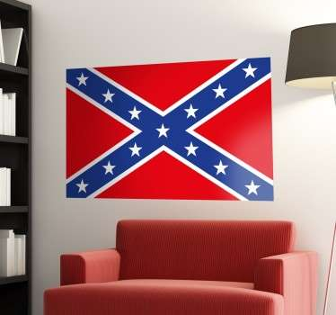 Location theme wall decal design confederate flag. A lovely country representation decoration for any flat surface. It is available in any size.