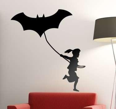 meisje met batman vlieger muursticker