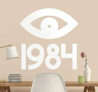 This literature related decorative wall vinyl is perfect for all fans of Orwellian works, showing an eye representing Big Brother