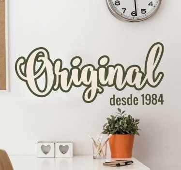 Pegatinas vintage con un diseño caligráfico original, el año es personalizable.