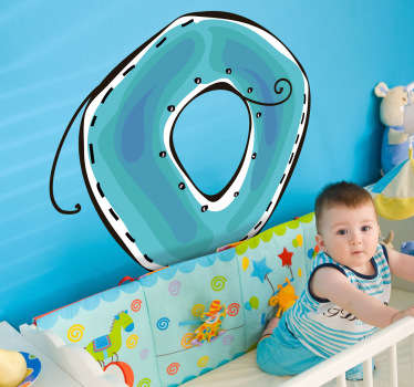 Decorative sticker of the letter O. Does your child´s name start with O?  A brilliant decal to decorate your child´s room.