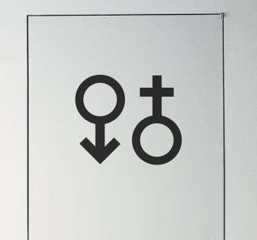 Manliga och kvinnliga symbolmuren klistermärke