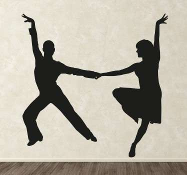 This decorative wall sticker perfect for dance studios or any room in the home features a stylish silhouette of a pair of energetic latin dancers!