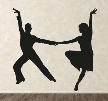 Adesivo silhouette coppia ballo latino